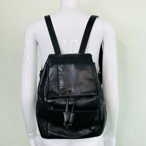 Perlina Leather Drawstring Bucket Backpack
